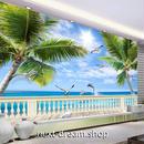 3D 壁紙 1ピース 1㎡ 自然風景 海の景色 ヤシの木 歩道橋 インテリア 装飾 寝室 リビング h02341