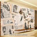 3D 壁紙 1ピース 1㎡ ヴィンテージ 英字新聞紙 セピア インテリア 部屋装飾 耐水 防湿 防音 h02814