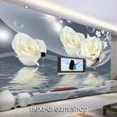 3D 壁紙 1ピース 1㎡ モダンアート 白い薔薇 水面 インテリア 部屋 寝室 リビング 防湿 防音 h03046