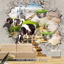 3D 壁紙 1ピース 1㎡ 絵画 天空世界 空飛ぶお城 牛  インテリア 装飾 寝室 リビング 耐水 防湿 h02598