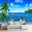 3D 壁紙 1ピース 1㎡ 自然風景 青い海 ビーチ いるか インテリア 装飾 寝室 リビング 耐水 防カビ h02389