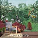3D 壁紙 1ピース 1㎡ 熱帯ジャングル 猿 動植物 インテリア 部屋装飾 耐水 防湿 防音 h02902