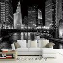 3D 壁紙 1ピース 1㎡ シティ風景 モノクロ 夜景 DIY リフォーム インテリア 部屋 寝室 防湿 防音 h03343