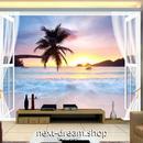 3D 壁紙 1ピース 1㎡ 自然風景 海の景色 ビーチ ヤシの木 サンセット インテリア 装飾 寝室 リビング h02340