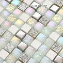 3D壁紙 29.8×29.8cm 11枚セット クリスタルガラス 白 石 DIY リフォーム インテリア 部屋/浴室/トイレにも h04578