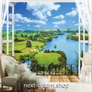 3D 壁紙 1ピース 1㎡ 自然風景 窓からの景色 草原 川 海 インテリア 装飾 寝室 リビング h02302