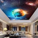 3D 壁紙 1ピース 1㎡ 宇宙 銀河系 地球 天井用 インテリア 装飾 寝室 リビング 耐水 防湿 h02694