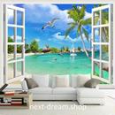 3D 壁紙 1ピース 1㎡ 自然風景 窓からの景色 海 ビーチ ヤシの木 インテリア 装飾 寝室 リビング h02295