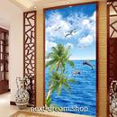 3D 壁紙 玄関用 1ピース 1㎡ 自然風景 海 いるか ヤシの木 インテリア 装飾 部屋 耐水 防湿 耐衝撃 騒音吸収 h02779