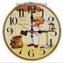 新品送料込★ 時計 壁掛け 木製 クォーツ パン屋 コーヒー ヨーロッパレトロ  DIY お洒落 面白 輸入雑貨 インテリア 高性能  m01537