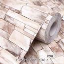 3D壁紙 60×1000cm 石レンガ モダン ライトブラウン DIY リフォーム インテリア 部屋/リビング/家具にも 防水 PVC h03985