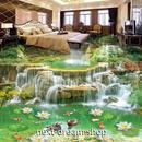 3D 壁紙 1ピース 1㎡ 床用 自然風景 滝 鯉 かも DIY リフォーム インテリア 部屋 寝室 防湿 防音 h03563