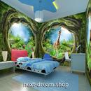 3D 壁紙 1ピース 1㎡ 絵画 木の家 キリン インテリア 装飾 寝室 リビング 耐水 防湿 h02601