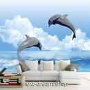 3D 壁紙 1ピース 1㎡ 海 イルカのジャンプ 入道雲 インテリア 装飾 寝室 リビング 耐水 防湿 h02625
