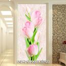 3D 壁紙 玄関用 1ピース 1㎡ チューリップ 花 ピンク インテリア 装飾 部屋 耐水 防湿 耐衝撃 騒音吸収 h02757