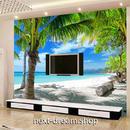 3D 壁紙 1ピース 1㎡ 自然風景 青い海 空 雲 ヤシの木 白い砂浜 インテリア 装飾 寝室 リビング h02252