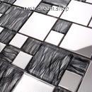 3D壁紙 30×30cm 11枚セット ステンレス ガラス 黒 シルバー DIY リフォーム インテリア 部屋/浴室/トイレにも h04559