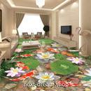 3D 壁紙 1ピース 1㎡ 床用 自然風景 鯉 蓮の花  DIY リフォーム インテリア 部屋 寝室 防湿 防音 h03558