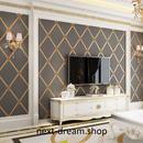 3D 壁紙 53×1000㎝ モダン ダイヤモンド格子 DIY 不織布 カビ対策 防湿 防水 吸音 インテリア 寝室 リビング h01952