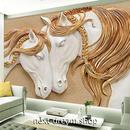 3D 壁紙 1ピース 1㎡ 立体アート 馬 ホワイトホース インテリア 部屋 寝室 リビング 防湿 防音 h03001