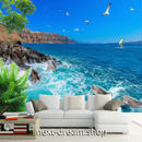 3D 壁紙 1ピース 1㎡ 自然風景 海 島 イルカ カモメ インテリア 装飾 寝室 リビング h02281