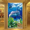 3D 壁紙 玄関用 1ピース 1㎡ 自然風景 海 いるか 魚 インテリア 装飾 部屋 耐水 防湿 耐衝撃 騒音吸収 h02778