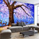 3D 壁紙 1ピース 1㎡ 自然風景 油絵風 ピンクの花 鹿 エルク インテリア 部屋装飾 耐水 防湿 防音 h02927