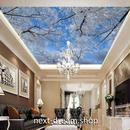 3D 壁紙 1ピース 1㎡ 自然風景 青空 氷雪 枯れ木 天井用 インテリア 装飾 寝室 リビング 耐水 防湿 h02660