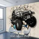 3D 壁紙 1ピース 1㎡ ウォールアート 壁から四駆自動車 インテリア 装飾 寝室 リビング 耐水 防湿 h02513