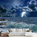 3D 壁紙 1ピース 1㎡ 自然風景 夜の海 荒波 かみなり インテリア 装飾 寝室 リビング 耐水 防カビ h02371