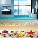 3D 壁紙 1ピース 1㎡ 床用 自然風景 ビーチ ヒトデ 貝殻 DIY リフォーム インテリア 部屋 寝室 防湿 防音 h03597