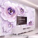 3D 壁紙 1ピース 1㎡ 牡丹の花 紫 レース 蝶々 DIY リフォーム インテリア 部屋 寝室 防湿 防音 h03143