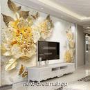 3D 壁紙 1ピース 1㎡ 北欧モダン フラワー ゴールド インテリア 部屋 寝室 リビング 防湿 防音 h03042