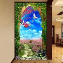 3D 壁紙 玄関用 1ピース 1㎡ 自然風景 花畑 アーチ インテリア 装飾 部屋 耐水 防湿 耐衝撃 騒音吸収 h02782