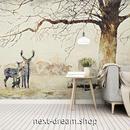 3D 壁紙 1ピース 1㎡ 水彩画風 枯れ木 鹿 インテリア 部屋装飾 耐水 防湿 防音 h02923