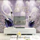 3D 壁紙 1ピース 1㎡ モダン 宝石アート LOVE 白鳥 DIY リフォーム インテリア 部屋 寝室 防湿 防音 h03197