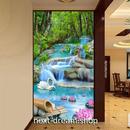 3D 壁紙 玄関用 1ピース 1㎡ 自然風景 森林 小川 蓮の花 インテリア 装飾 部屋 耐水 防湿 耐衝撃 騒音吸収 h02802