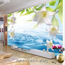 3D 壁紙 1ピース 1㎡ 自然風景 水 百合の花 爽やか インテリア 装飾 寝室 リビング h02326