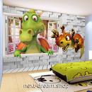3D 壁紙 1ピース 1㎡ 子供部屋 窓からの景色 恐竜 インテリア 装飾 寝室 リビング 耐水 防湿 h02522