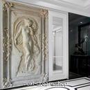 3D 壁紙 玄関用 1ピース 1㎡ ヨーロッパ 彫刻 中世 インテリア 装飾 部屋 耐水 防湿 耐衝撃 騒音吸収 h02706