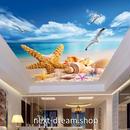 3D 壁紙 1ピース 1㎡ 自然風景 ビーチ 貝殻 かもめ 天井用 インテリア 装飾 寝室 リビング 耐水 防湿 h02648