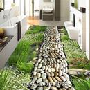 3D 壁紙 1ピース 1㎡ 床用 自然風景 草原 石の道 DIY リフォーム インテリア 部屋 寝室 防湿 防音 h03429