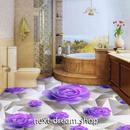 3D 壁紙 1ピース 1㎡ 床用 紫 薔薇 アート DIY リフォーム インテリア 部屋 寝室 防湿 防音 h03406