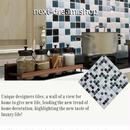 3D壁紙 25.5×25.5cm 1PCS モザイクタイル 青×白 DIY リフォーム インテリア キッチン/浴室/トイレにも 防水 防カビ h04328