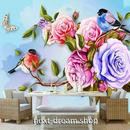 3D 壁紙 1ピース 1㎡ 薔薇の花 うぐいす ピンクローズ インテリア 部屋装飾 耐水 防湿 防音 h02868