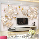 3D 壁紙 1ピース 1㎡ 白い花 ヨーロッパスタイル モダン インテリア 部屋装飾 耐水 防湿 防音 h02900