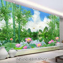 3D 壁紙 1ピース 1㎡ 自然風景 湖の景色 スイレン 竹 アジア インテリア 装飾 寝室 リビング h02348