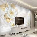 3D 壁紙 1ピース 1㎡ 北欧モダン 花 ゴールド 白 インテリア 部屋 寝室 リビング 防湿 防音 h03048