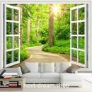 3D 壁紙 1ピース 1㎡ 自然風景 窓 森林浴 癒し 太陽 インテリア 装飾 寝室 リビング h02149