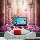 3D 壁紙 1ピース 1㎡ ローマ宮殿 花 ピンク インテリア 部屋装飾 耐水 防湿 防音 h02989